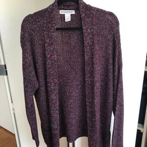oversized knit cardigan - burgundy